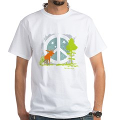 Moose and Peace Sign White T-Shirt