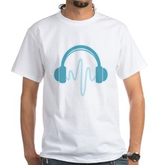 Blue Headphones Maternity Tee (Dark) White T-Shirt