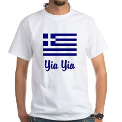 Yia Yia with Greek Flag White T-Shirt