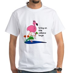 Flamingo on vacation with martini on White T-Shirt