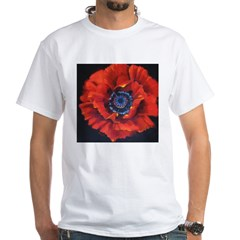 Red Poppy on Black White T-Shirt