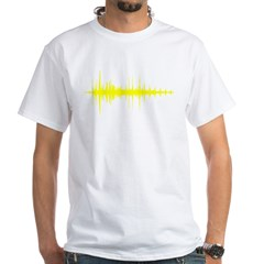 AudioWave_Yellow_1shot White T-Shirt
