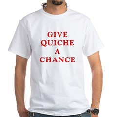 "Polymorph ""Give Quiche A Chance"" Red Dwarf White T-Shirt"