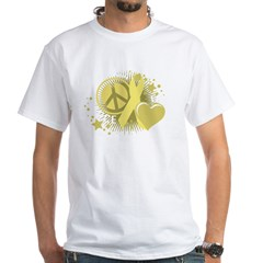 Spina Bifida Peace Love Cure White T-Shirt