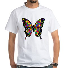 Autism Butterfly White T-Shirt