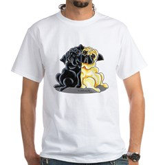 Black Fawn Pug White T-Shirt