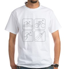 swimbikerunBeer-Grey White T-Shirt