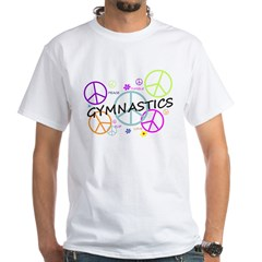 Colored Peace Signs Gymnastics White T-Shirt