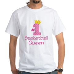 Number One Basketball Queen White T-Shirt