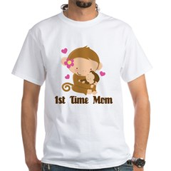 1st Time Mom Monkey Gift White T-Shirt