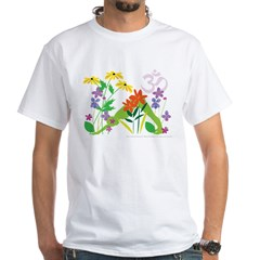 Humming Flowers by Nancy Vala White T-Shirt