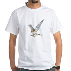 striking Red-tail Hawk White T-Shirt