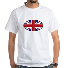 UK (Union Jack) Flag in Oval White T-Shirt