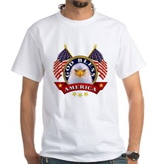 God Bless America Ash Grey White T-Shirt