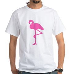 Hot Pink Flamingo White T-Shirt