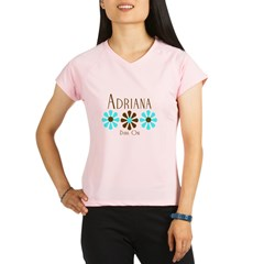 Adriana - Blue/Brown Flowers Performance Dry T-Shirt