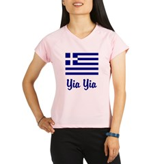 Yia Yia with Greek Flag Performance Dry T-Shirt