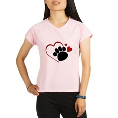 Dog Paw Print with Love Hear Performance Dry T-Shirt