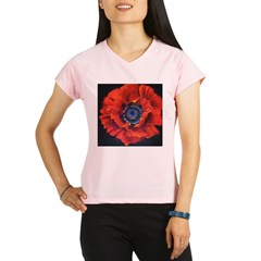 Red Poppy on Black Performance Dry T-Shirt