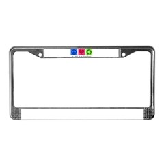 Peace Love Recycle License Plate Frame