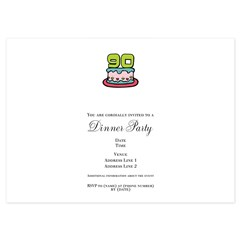 90th Birthday Cake 4.5 x 6.25 Flat Cards
