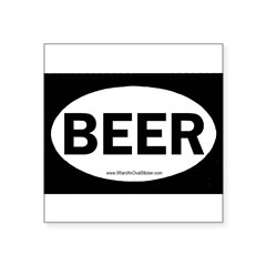 "BEER Oval Square Sticker 3"" x 3"""