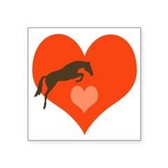 "horse hearts Oval Square Sticker 3"" x 3"""