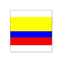"Colombia Flag Rectangle Square Sticker 3"" x 3"""
