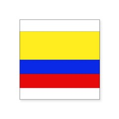 "Colombian Flag Rectangle Square Sticker 3"" x 3"""