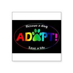 "Adopt Sticker (Multi on Black) Square Sticker 3"" x 3"""