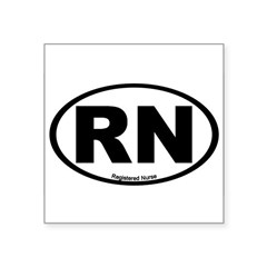 "Registered Nurse Oval Square Sticker 3"" x 3"""