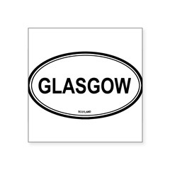 "Glasgow, Scotland euro Oval Square Sticker 3"" x 3"""