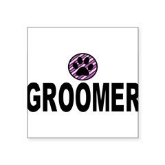 "Groomer Purple Stripes Rectangle Square Sticker 3"" x 3"""