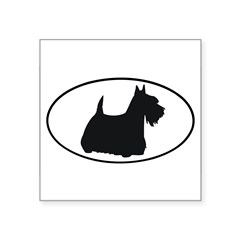 "Scottish Terrier Oval Square Sticker 3"" x 3"""