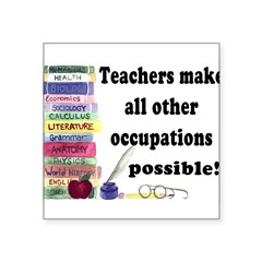 """Teacher Occupations"" Rectangle Square Sticker 3"" x 3"""