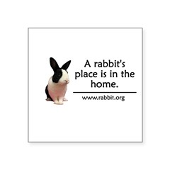 "A rabbits place is in the hom Oval Square Sticker 3"" x 3"""