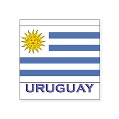 "Uruguay Flag Gear Rectangle Square Sticker 3"" x 3"""