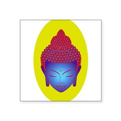 "purple buddha Oval Square Sticker 3"" x 3"""