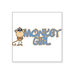 "Monkey Girl Oval Square Sticker 3"" x 3"""