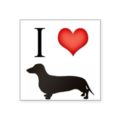 "doxie love Rectangle Square Sticker 3"" x 3"""