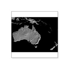 "Australia Relief Map Rectangle Square Sticker 3"" x 3"""