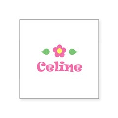 "Pink Daisy - ""Celine"" Rectangle Square Sticker 3"" x 3"""