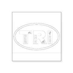"Triathlon Oval Square Sticker 3"" x 3"""