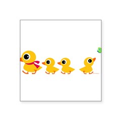 "Distracted Duck Rectangle Square Sticker 3"" x 3"""