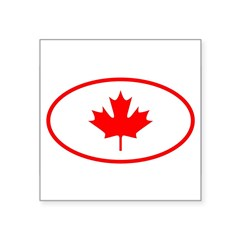 "Canada Oval Square Sticker 3"" x 3"""