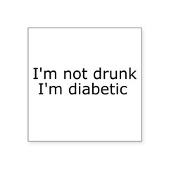 "Diabetic Info Rectangle Square Sticker 3"" x 3"""