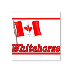 "Canada Flag - Whitehorse Rectangle Square Sticker 3"" x 3"""