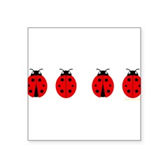 "Ladybugs Rectangle Square Sticker 3"" x 3"""