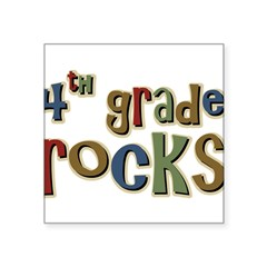 "4th Grade Rocks Fourth School Sticker (Rectangular Square Sticker 3"" x 3"""