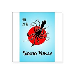 "Squid Ninja Square Sticker 3"" x 3"""
